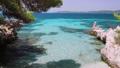 4k shooting of beautiful beach lagoon on mediterranean coast. Amazing multicolored water, pine tree branches on the rocky seashore. Hidden beach, summer feeling, vacation, travel in paradise 65308031