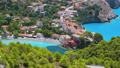 4k video of greek island Kefalonia. View of the Asos village from the Venetian Castle Ruins. Beautiful seascape of Ionian Sea. Summer vacation in Greece, Europe 65308048