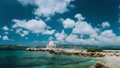 4k Beautiful cloudscape over Lighthouse of St. Theodore at Argostoli. Time lapse. Kefalonia island. Greece 65308053