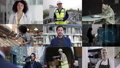 Portrait of key workers industry professionals, Doctor, Teacher, Chef, Military, Supermarket, Delivery, and infrastructure worker, looking to camera, group of professionals split screen 65329732