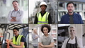 Portrait of key workers industry professionals, Doctor, Teacher, Chef, Supermarket, Delivery, and infrastructure worker, looking to camera, group of professionals split screen 65329734