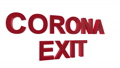 "The lettering ""Corona Exit"" flies into the picture from behind and bends and swings out slowly in front of a white background 65414808"