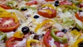 Hand take delicious fresh pizza with chicken meat and melted hot cheese 65465727