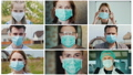 Multi-screen with portraits of people in protective masks, collage on the theme of the coronavirus pandemic 65638615