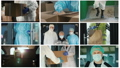Work of people in the conditions of epidemic, composition of several frames 65643952