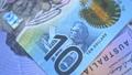 Australian 10 dollar AUD banknotes close up 65649020