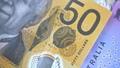 Australian 50 dollar AUD banknotes close up 65649022