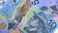 Australian 10 dollar AUD banknotes close up 65649028