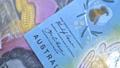 Australian 10 dollar AUD banknotes close up 65649030