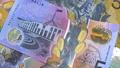 Australian 5 dollar AUD banknotes close up 65649031