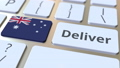 Deliver text and flag of Australia on the computer keyboard. Logistics related 3D animation 65716883