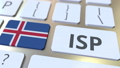 ISP or Internet Service Provider text and flag of Iceland on the computer keyboard. National web access service related 3D animation 65716884