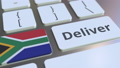 Deliver text and flag of South Africa on the computer keyboard. Logistics related 3D animation 65717165