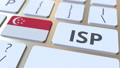 ISP or Internet Service Provider text and flag of Singapore on the computer keyboard. National web access service related 3D animation 65717548