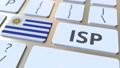 ISP or Internet Service Provider text and flag of Uruguay on the computer keyboard. National web access service related 3D animation 65717550