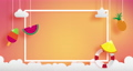 summer banner as horizontal frame  contain white border ,sunset light shining on background and all objects floating over cloud, objects are hanging by string such as ice creme, pineapple  watermelon 65736288