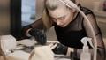 Professional manicure in the salon. 65814321