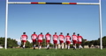 Rugby players training on the field 65835311