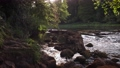 Picturesque 4K video of river cascades at evening with stone and may flies above water surface 65919245