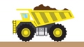 A yellow mining truck is carrying soil 65939869