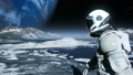 An astronaut-explorer is walking on an uninhabited planet. Animation for fantasy, futuristic or space travel backgrounds. 66315933