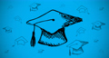 Animation of black outlined hand drawn graduation college university hats moving on blue background 66345335