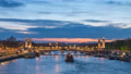 Paris France time lapse 4K, city skyline day to night sunset timelapse at Seine River with Pont Alexandre III bridge 66353881