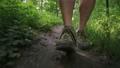 front view of walking man's feet wearing trekking shoes 66363046