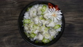 Oysters Rice Baked (Gulbap) Korean Food Style dish decorate with leek topview 66419177