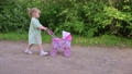 Little girl walking with her stroller toy in summer park 66429380