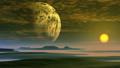 Huge Moon and Gentle Sunrise 66727566