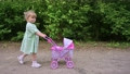 Little girl walking with her stroller toy in summer park 66742735