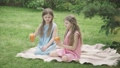 Wide shot of curly-haired twins in blue and pink dresses drinking orange juice outdoors. Portrait of happy little Caucasian brunette girls clinking glasses on picnic on green meadow on sunny day. 66774498