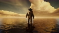 Spaceman in the sea under clouds at sunset 66834137