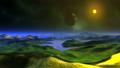 Moon Flies Over Alien Planet 66904617
