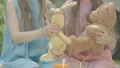 Close-up of unrecognizable Caucasian twin sisters playing with toys outdoors. Siblings having fun with teddy bear and rabbit on sunny summer meadow. Cinema FullHD ProRes HQ. 66954048