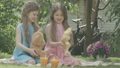 Charming beautiful twin sisters playing with teddy bear and toy rabbit outdoors. Portrait of Caucasian girls resting on sunny summer day and smiling. Fun, leisure, childhood. Cinema FullHD ProRes HQ. 66954050
