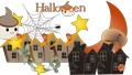 Illustration of a cute Halloween haunted pumpkin and stars, an animated background of a mansion or a spider spinning in a cobweb 67116321