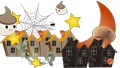 Illustration of a cute Halloween haunted pumpkin and stars, an animated background of a mansion or a spider spinning in a cobweb 67116323
