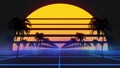 Stylized vintage 3D animation background with palm trees, sun and glowing stars. 80s retro futuristic sci-fi seamless loop. 67172981