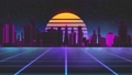 Stylized vintage 3D animation background with modern city, sun and glowing stars. 80s retro futuristic sci-fi seamless loop. 67173013