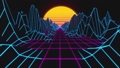 Retrowave horizon landscape with neon lights and low poly terrain. 80s retro background loop animation. 67173018