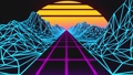 Retrowave horizon landscape with neon lights and low poly terrain. 80s retro background loop animation. 67173019