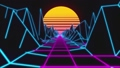 Retrowave horizon landscape with neon lights and low poly terrain. 80s retro background loop animation. 67173022