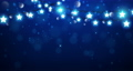 Christmas background consist of fairy lights as star shape with magic particle falling down on dark blue background 67199724