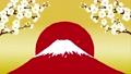 梅の花 赤富士と舞い散る紙吹雪 67428417