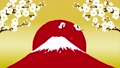 梅の花 赤富士を飛ぶ鶴 舞い散る紙吹雪 67428419