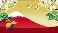 2021年丑年 お正月背景動画  休憩する牛 富士山と空に羽ばたいていく鶴 67522795