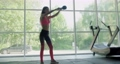 Beautiful young woman does training with kettlebell in gym. Attractive Female training 67529789
