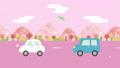 桜並木の道を走る車のアニメーション 春の風景 67734967